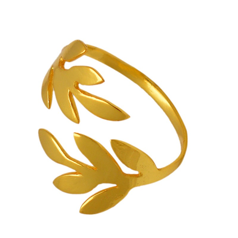 925 Sterling Silver Flower Designer Plain Gold Plated Ring Jewelry