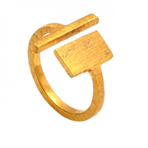 Stylish 925 Sterling Silver Gold Plated Adjustable Ring Jewelry