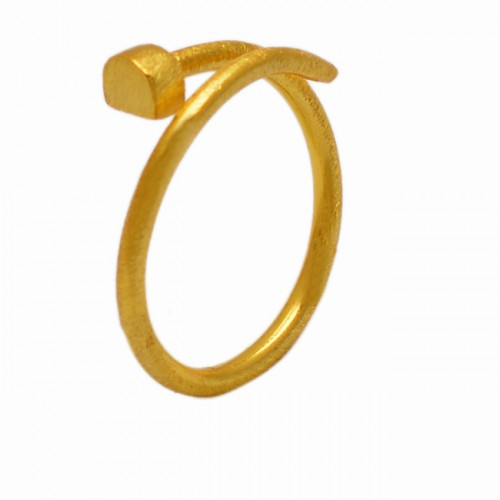Fashionable 925 Sterling Plain Silver Gold Plated Ring Jewelry
