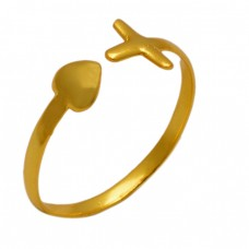 Plain Silver Handmade Designer Gold Plated Adjustable Ring Jewelry
