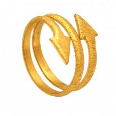 Handmade Plain Silver Arrow Shape Designer Gold Plated Ring Jewelry