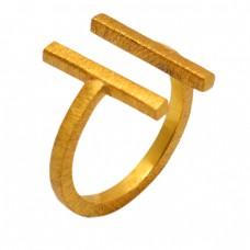 925 Sterling Silver Plain Unique Adjustable Gold Plated Ring Jewelry