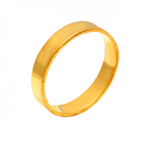 Handcrafted Designer Plain Silver Stylish Gold Plated Ring Jewelry