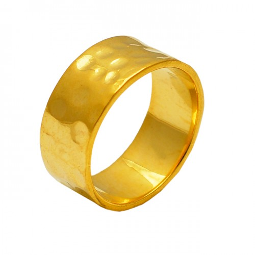 Hammered 925 Sterling Plain Silver Gold Plated Band Ring Jewelry